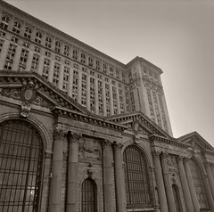 A photoshop glimpse in to the future of Michigan Central Station (mcsdetroitfriend) Tags: blackandwhite abandoned train photoshop michigan detroit central skills depot intact corktown waynecounty michigancentralstation