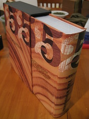 The Woodbook half out of its sleeve