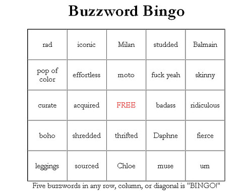 Fashion buzzword bingo