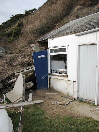 Demolished beach hut
