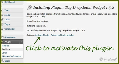 Screen shot on how to activate WordPress Tag Dropdown Widget plugin
