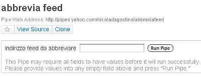 Yahoo! Pipes - abbrevia feed