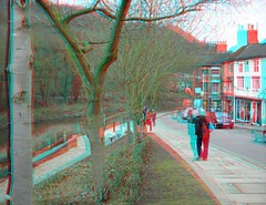 Ironbridge  Shropshire in anaglyph 3D (3dstereopics) Tags: uk bridge england people river geotagged town stereoscopic stereophoto stereophotography 3d nikon iron fuji unitedkingdom famous anaglyph ironbridge telford stereo finepix shops stereoview gorge footpath w1 redblue 3dglasses publicfootpath stereoscopy w3 anaglyphic 3dimensional redblueglasses anaglifo 3danaglyph ttw redcyan redcyanglasses real3d 3dphoto 3dpicture 3dphotograph anaglyph3d anaglyphi