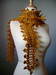 Long hand crocheted scarf SPROUTS Merino wool Old Gold / Patina / Yellow Victorian floral design scarflette lariat lace (VitalTemptation , Etsy) Tags: old green art wool floral fashion gold leaf spring handmade lace unique crochet victorian style lariat carf wearable fiber sprouts bufanda patina charpe russianart scarflette etsyhookers
