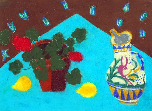 "Geranium and Mexican Jug - pastel on paper 22"" x 30"" $1100"