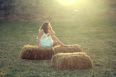 (mia sara.) Tags: portrait sun white grass casey spring nikon sara dress hill warmth explore mia greenery hay bales whitedress d40 miasara nikond40 explored17 summercomesoon
