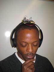[Michael modeling headphones]