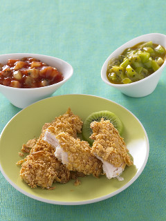CRISPY BAKED CHICKEN TENDERS WITH KIWI-HONEY MUSTARD AND KIWI-CHIPOTLE KETCHUP