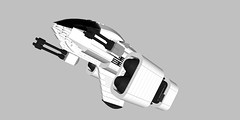 "KH-43 Heavy Attack Craft ""Peregrine"" (Creme-de-la-creme) Tags: white black toy fighter ship lego machine engines guns rocket peregrine cdlc modelstarfighter"