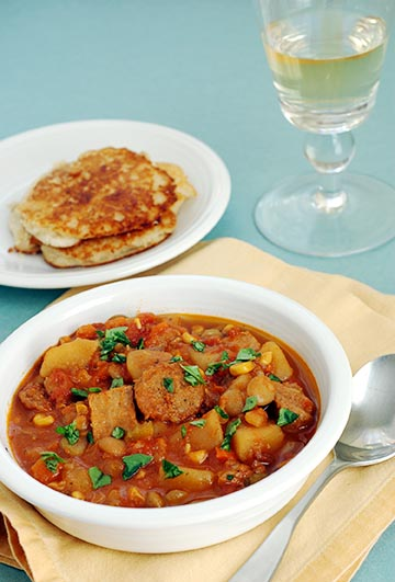 Meatless Brunswick Stew with Johnny Cakes