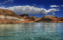 BIG HDR with afternoon clouds (jssutt) Tags: water clouds sandstone cliffs hdr lakepowell photomatix jssutt jeffsuttlemyre