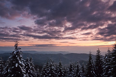 Colder Nights (andywon) Tags: sunset sky snow mountains cold nature colors germany landscape deutschland hills firstsnow spruce schwarzwald blackforest eveningglow hornisgrinde badenwrttemberg b500 explored schwarzwaldhochstrase