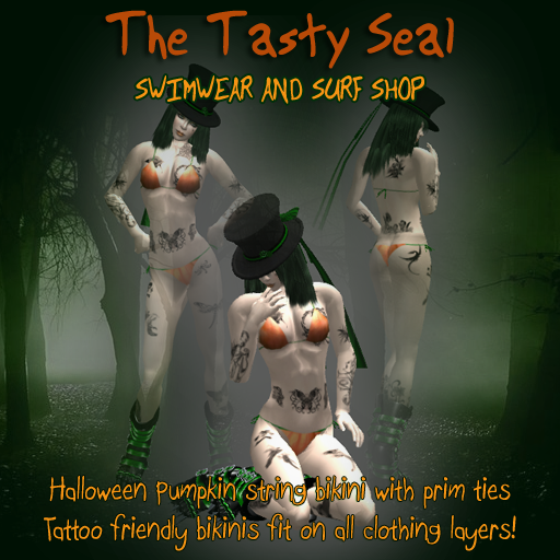 Tasty Seal Surf Shop - Halloween pumpkin string bikin with prim ties
