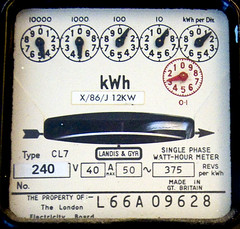 Electricity (daveknapik) Tags: old uk england london electric design power retro numbers electricity meter watts meters dials tpc electricmeter measurement kensalgreen electricitymeter cl7 kilowatts tpcu9 tpcu9l2 tpcu9l3