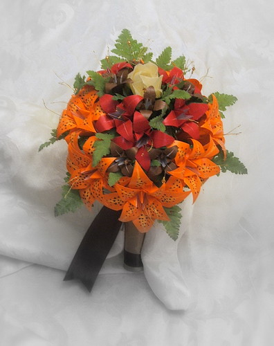 red tiger lily bouquet. Origami Tiger Lilies
