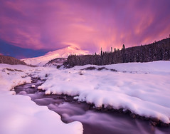 First Snow First Light (Sheldon Nalos) Tags: winter sky snow cold color ice clouds oregon sunrise landscape snowshoe whiteriver mthood mounthood canon1dsmarkiii sheldonnalos