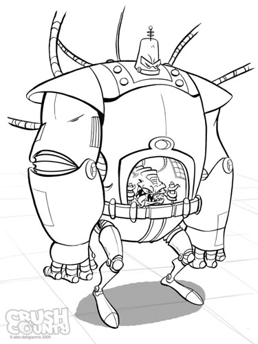 "Big Toon's ""KRANG's Android Body"" - inks (( 2009 )) [[ the work of Alex ""Toon"" Deligiannis ]]"