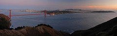 San Francisco and the Golden Gate at sunset (Le Shann) Tags: ocean sanfrancisco california bridge sunset urban panorama landscape bay pacific panoramic goldengate viewpoint