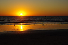 Susnet over the Pacific (Magda of Austin) Tags: ocean california sunset seagulls beach pier pacific santamonica lifeguard 50200mm pentaxk200d