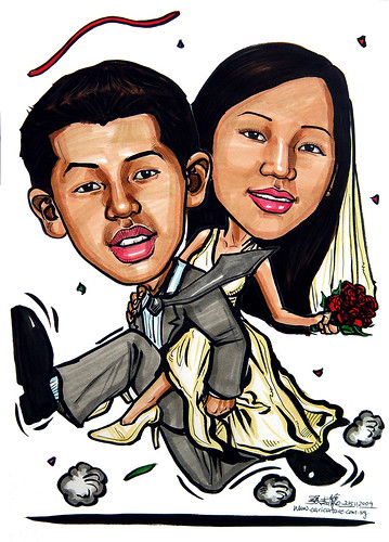 Wedding couple piggy back caricatures