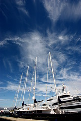 Super Yacht in MegaDock in Antibes (blackflag1104) Tags: sky cloud france canon boat nice cotedazur riviera angle harbour yacht wide sigma wideangle super 1020 antibes cirrus mediterranian 450d
