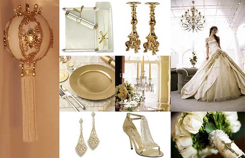 So I made a white and gold wedding inspiration board