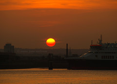 Mersey Sunset (.annajane) Tags: uk sunset england sun ferry liverpool river boat ship dusk birkenhead mersey wirral rivermersey norfolkline bidstonwindmill liverpoolviking