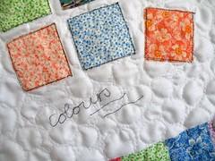 "detail of mini quilt ""colours"" (monaw2008) Tags: quilt squares handmade pebble fabric patchwork applique monaw monaw2008"