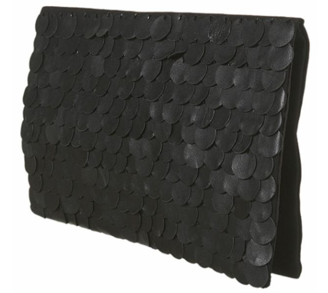 TopShop Leather sequin clutch