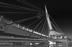 Esplanade Riel (StephenZacharias) Tags: blackandwhite bw canada blackwhite winnipeg footbridge g manitoba redriver f8 2009 mycity 18mm walkingbridge top25 esplanaderiel cablestayed 15764 18105mm pse6 sidespar floodof2009 editredo