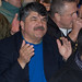 AFL-CIO President Richard Trumka blocking the entrance to the San Francisco Hilton before he is arrested