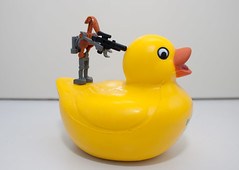 """stop...put your...errr..wings up"" (jonoakley) Tags: wallpaper up robot duck lego battle stick droid"
