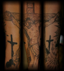 jesus on cross healed backround not finished (Billy Whaley Tattoo) Tags: new white black tattoo ink religious grey big cool catholic cross arm awesome badass large indiana christian albany billy louisville dying asgard whaley ketucky jeasus