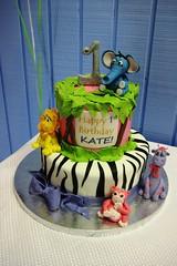 Kate's 1st Birthday (mandotts) Tags: birthday pink trees wild white elephant black girl animals cake glitter print monkey 1 purple 1st year lion first jungle bow zebra ribbon giraffe fondant