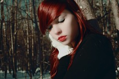 (velvetveins) Tags: trees snow jenna sadness lips redlips lipstick redhair closedeyes whitegloves