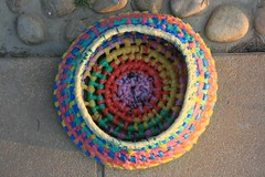 Coiled basket (Arbel Egger) Tags: basket recycle weaving plasticbags reuse coiling banthebag goodbag
