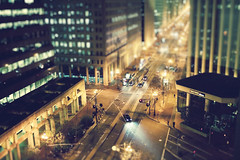 Downtown Reflection II (SHUN [iamtekn]) Tags: sanfrancisco street reflection car night buildings lights hotel miniature model downtown shot district small fake bank mini headlights financialdistrict wellsfargo financial tiltshift 35l canonef35mmf14lusm miniaturetiltshiftfake
