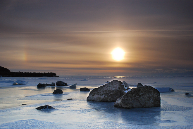 Rocks, ice and a sun dog to boot