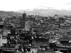 Crowded (fede_gen88) Tags: africa city houses blackandwhite bw bali panorama blackwhite minaret mosque morocco fez maroc medina fes crowded fès imperialcity feselbali oldfes فاس‎ imperialcities