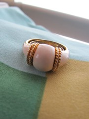 Fun, mod, white, ivory enamel and gold roped vintage cocktail ring. (MySoCalledVintage) Tags: fashion vintage gold mod ivory womens retro cocktail faux accessories etsy midcentury enamel mysocalledvintage