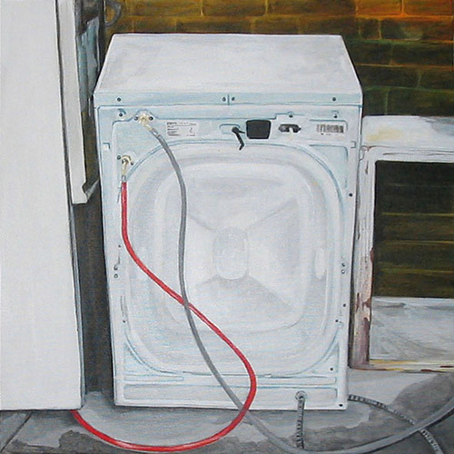 Washing Machine, Acrylic on Canvas, 31cm x 31cm by Robin Clare