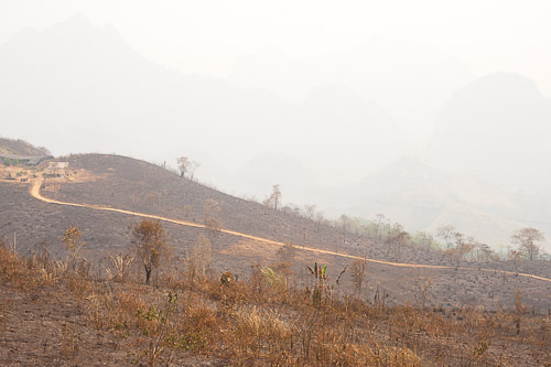 Burnt fields and smoke near Kasi District, Laos