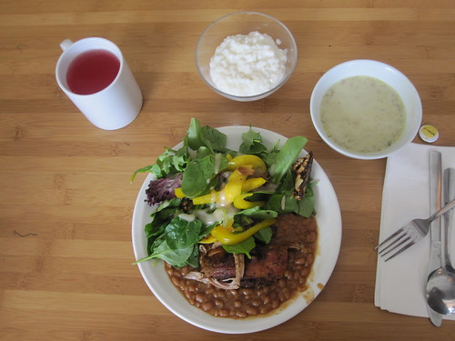 Soup, pork loin, beans, salad, rice pudding, lemonade from the bistro - $6