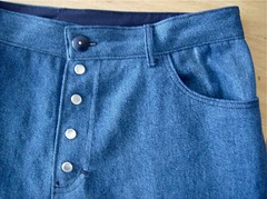 Close up of jeans fly