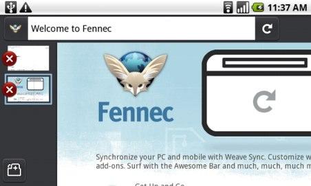 Fennec, navegador Firefox en Android