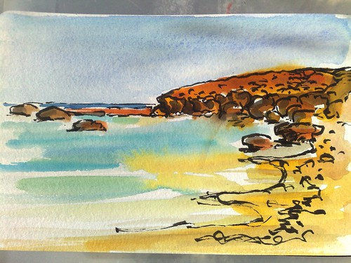 watercolour sketch at quobba