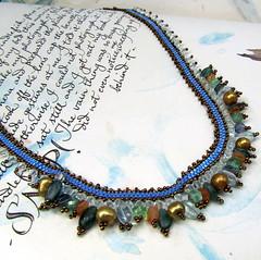 Bead Woven Necklace with Multigemstones (mrsbaubles) Tags: handmade jewelry handcrafted wearableart beading beadwork beadweaving seedbead blueseedbeadnecklaceflowercabearrings