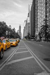 Yellow Cabs on 59th Street, New York 1 (AmbientLens) Tags: 59thstreet bigapple manhattan nyc newyork skyscrapers taxi yellowcab blackandwhite buildings ny selectivecolor yellowtaxi