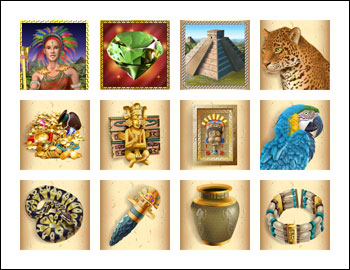free Mayan Queen slot game symbols