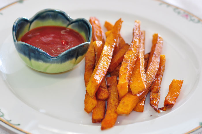 butternut squash French fries, second frying, plated